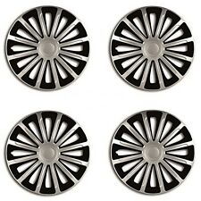 """15"""" Black & Silver Universal Wheel Trims Caps Set Of 4 For All Makes & Models"""