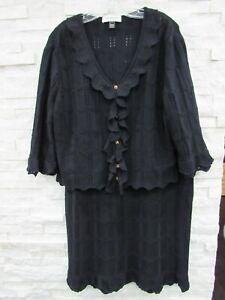 St. John Black Santana Knit Pointelle Scalloped Logo Jacket & Skirt Suit 14