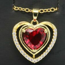 Gorgeous Heart Ruby Red Diamond Halo Pendant Women Necklace Yellow Gold Plated