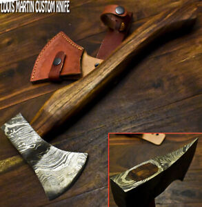 Louis Martin Hand Forged Damascus Steel Walnut Wood Tomahawk Hunting Axe Knife