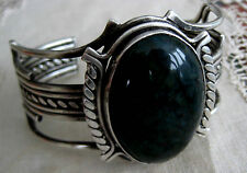 BOLD TRIBAL STERLING SILVER GREEN CHRYSOLLA? CUFF BRACELET HAND MADE 109.1 GR