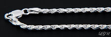 "STERLING SILVER ITALY DC ROPE CHAIN NECKLACE 20"" 3mm"
