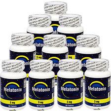 10 x 3 MG Melatonin 3MG 60 Tabs Total 600 Tablets FRESH Make In USA, GLOBAL Ship