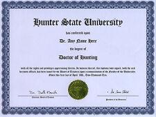 Doctor Hunting Novelty Diploma Deer Moose Goose Duck