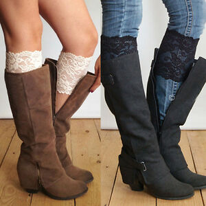 Fashion Stretch Lace Boot Cuffs Flower Leg Warmers Lace Trim Toppers Socks HOT