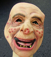 OLD MAN MASK HAPPY HAROLD RUBBER MASK NO HAIR HALLOWEEN SENIOR CITIZEN