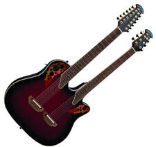 New Ovation CSE225-RRB Double Neck Celebrity Flame Acoustic-Electric Guitar