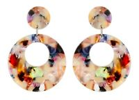 CLIP ON EARRINGS - silver drop earring with multi coloured acrylic - Elica M