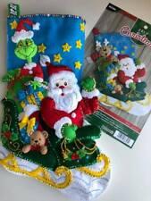 "Bucilla~  18 "" Felt  Christmas Stocking,~Handmade,Finished ~""SANTA'S HELPER"""
