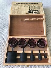 Rubber Sanding Drum Set 15 Pc Essco in Wooden Box Vintage USA