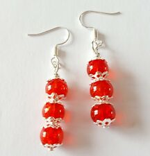 New Handmade Red Glass Crackle Round and Silver Beaded Dangle Drop Earrings