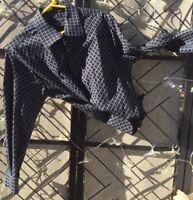 J. Ferrar Men's XL Black Plaid Window Pane Button Cotton Shirt L/S