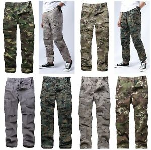 Mens Casual Camouflage Cargo Pants Military Army Combat BDU Pants Trousers