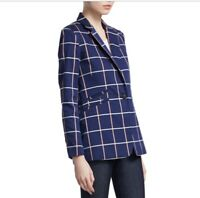 Rag & Bone RIDLEY Blue Windowpane One-Button Wool-Stretch Blazer Jacket Size 12