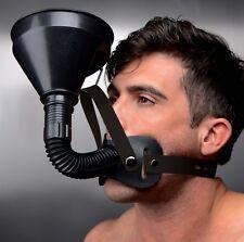 FUNNEL HEAD HARNESS fluid liquid feeder gag muzzle face head nozzle bong plastic