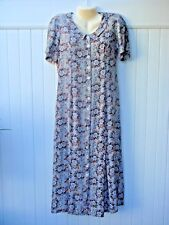 ODESSA 10 LONG GRAY FLORAL BUTTON FRONT DRESS SHORT SLEEVES