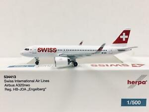 Herpa Wings Swiss International Air Lines Airbus A320neo 1:500 HB-JDA 534413