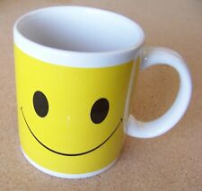 Smiley Face ceramic mug coffee cup white handle white inside