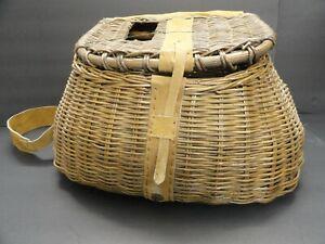 Creel Wicker Fish Basket Vintage Fishermans Traps Willow W// Strap Pouch Fishing