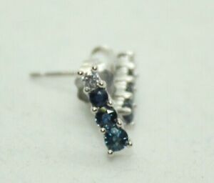 100% Genuine 10k White Gold Sapphire & CZ Earrings with a Push Back Lock