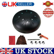 More details for 6 inch black steel tongue drum 8 tone g tune hand pan tank drums percussion kit
