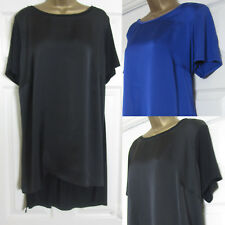 NEW EX Evans Plus Size Tunic Top Blouse Loose Fit Satin Front Black Purple Blue