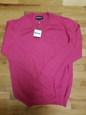 Barbour Sweater Fall Racing Pink V-Neck Merino Wool Men's Large Made in Turkey