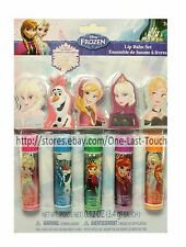DISNEY 10pc Set FROZEN Flavored Lip Balm/Gloss+Finger Puppets ANNA+ELSA+OLAF