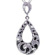 Micro Pave Set Black Teardrop Swarovski Crystal Ele Pendant Chain Long Necklace