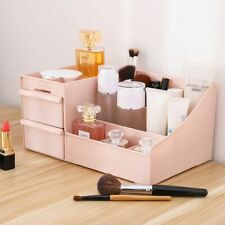 Cosmetic Storage Box with Drawers and Compartments Pink Makeup Organizer Box