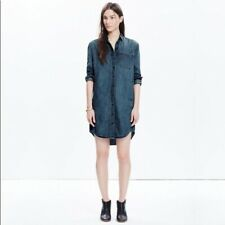 XS Madewell Luxe Sunday Denim Shirt Dress Chambray Mulberry Silk Blue Spring
