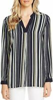 Vince Camuto Top Printed Stripe Blouse Women Navy Blue Sz M NEW NWT 488