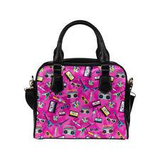Pink 80's Retro Print Ladies Small Handbag, Crossbody bag, Rockabilly, Cassette