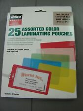 Ibico 25 assorted color laminating pouches 5 Red, Clear, Green, Blue, Yellow