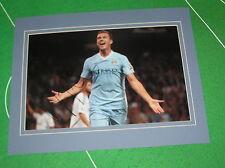 Edin Dzeko Signed & Mounted Manchester City FC Goal Celebration Photograph
