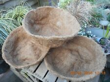 "New Hanging Basket Round Coco Pre Shaped x 3 Liners 14"" 35cm, good quality"