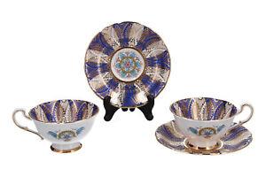 Paragon Tea Cups & Saucers x 2 Blue & Gold English