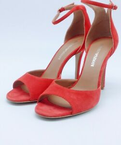 EMPORIO ARMANI RED SUEDE ANKLE STRAP HEELS SIZE 7.5