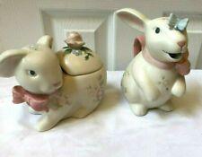 Pfaltzgraff Tea Rose Bunny Rabbit Cream & Sugar Set W/Lid. Wonderful condition!