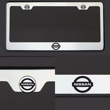 T304 Chrome Fit Nissan Logo Black Laser Etched Engraved License Plate Frame Tag