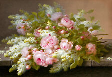 Painting Floral Chic Shabby Pink Roses French Country Fine Art Canvas Print A3