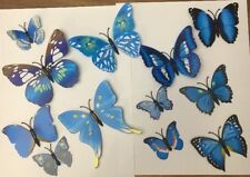 12 Pcs 3D Butterfly Magnetic Stickers Wall Decals Home Room Decor - Blue