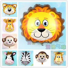 5pcs Animal Head Helium Foil Ballons Birthday Theme Party Free Air Pumper