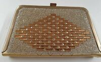 WOMEN'S ELEGANT CLUTCH PARTY ACCESSORIES GOLDEN DIAMANTE PURSE