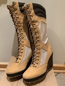 """Womens Timberland Spring Point Lace Up 14"""" Wedge Boots Wheat/BLE 23617 US 6.5 M"""