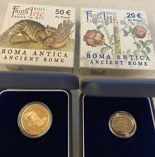 """Moneta oro 20 e 50 Euro 2011 """"Flora e Fauna nell'Arte"""" 22,58 gr. Introvabile RR"""