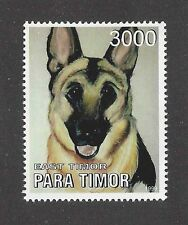 Art Head Portrait Postage Stamp GERMAN SHEPHERD DOG ALSATIAN Para Timor 1999 MNH