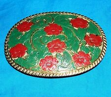El Arturo Crumrine Women's Red Roses Green Leaf Cowboy Western Belt Buckle Rodeo
