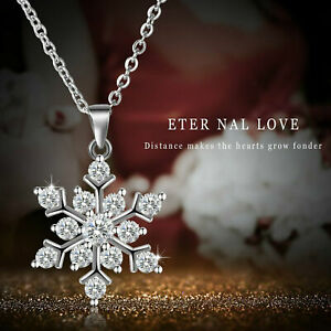 Women's Snowflake Pendant Necklace 925 Sterling Silver Cubic Zirconia Jewelry