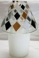 Yankee Candle Jar Shade Topper BLACK TAN DIAMONDS Medium Large Jar Silver White